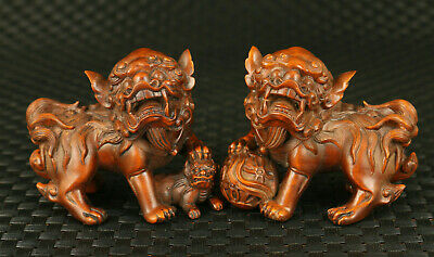 Chinese old boxwood hand carved pair fortune Kylin statue figure decoration gift