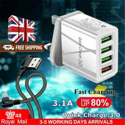 Wall Charger Fast Charging QC3.0 Multi USB UK Plug Power For Samsung Iphone