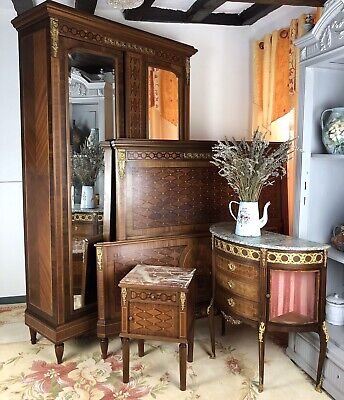 Antique French Louis Bedroom Suite Armoire Kingsize Bed Frame Cabinet & Commode