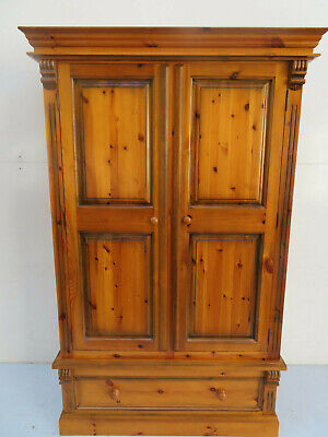 Antique Pine Double Wardrobe with Large Drawer - Excellent Quality