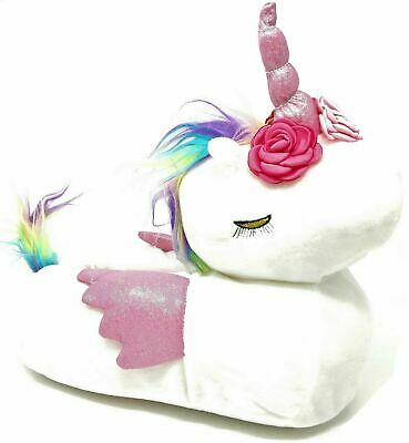 Ladies Womens Teens White Pink Fluffy 3D Novelty Unicorn Slippers Size 3-8