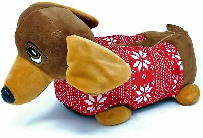 Ladies Womens Teens Brown Red 3D Novelty Sausage Dog Slippers Size 3-8