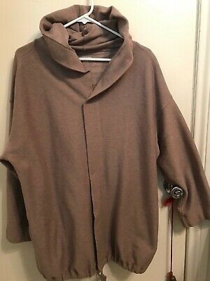 LANDS END Woman's L/S Shawl Collar Open Front Hoodie Jacket in Brown Tweed--XL