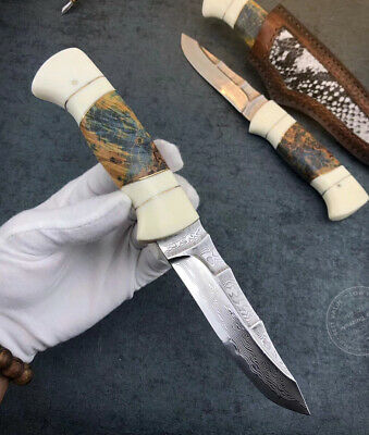 Vg10 Damascus Hunting Knife Fixed Blade Survival Bowie Camping Utensil W/ Sheath
