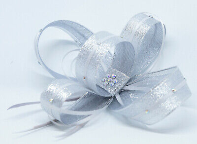 New shimmering silver fascinator with diamante'on clip, comb and Alice band