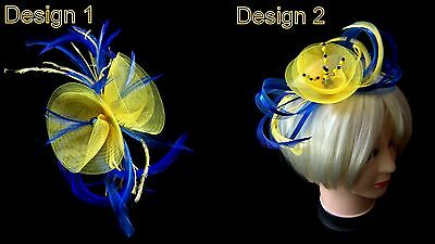 Yellow and cobalt/electric blue fascinator in 2 designs  on comb, band, or clip.