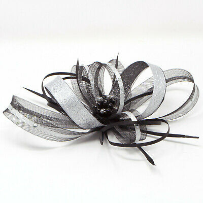 Metallic silver & black fascinator with bead cluster on clip, comb & Alice band