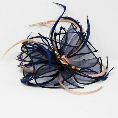 Navy blue organza fascinator with rose gold on a clip, comb and Alice band