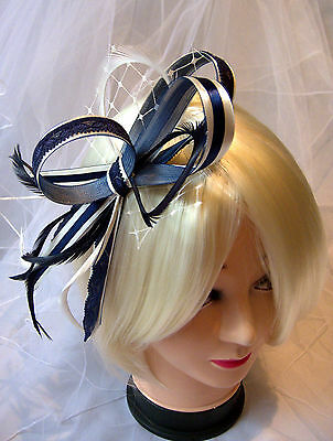New navy & white or navy and ivory lace fascinator on comb, Alice band or clip.