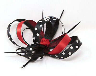 Black, red and white polka dot fascinator with clip