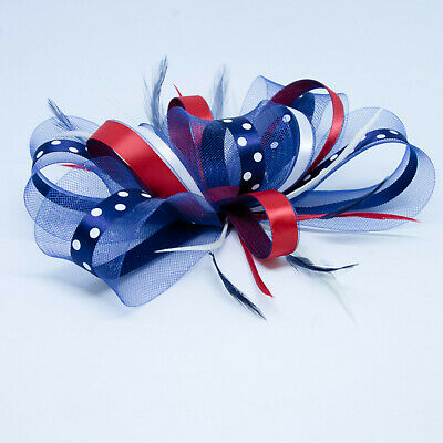Large Navy blue, red & white polka dot fascinator with comb, clip, & alice band.