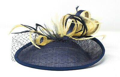Navy blue and yellow hatinator style fascinator with comb, clip, & alice band.
