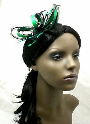 Emerald Green and black fascinator with diamante on comb, Alice band or  clip.