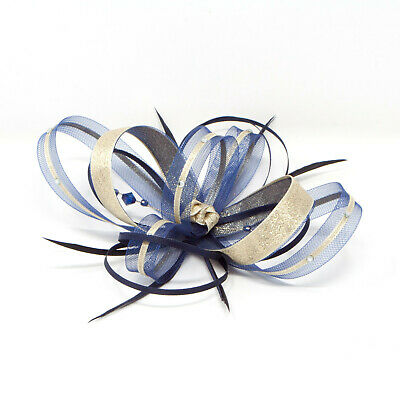 Navy Blue and metallic gold fascinator with diamantè with comb, clip, & alice