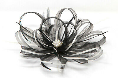 Black & white fascinator with diamante' & pearl beads on clip, comb & Alice band
