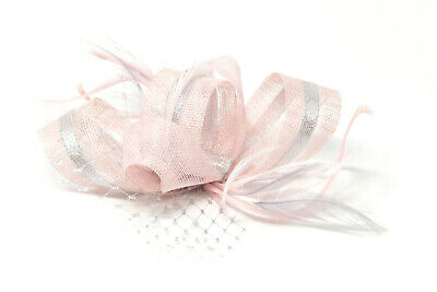 Blush pink and silver fascinator on a clip, comb and Alice band