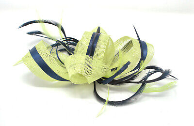 Citrus lime green and navy blue fascinator on a clip, comb and Alice band …