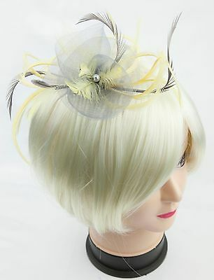 Silver grey and lemon yellow fascinator on a comb, Alice band or crocodile clip.