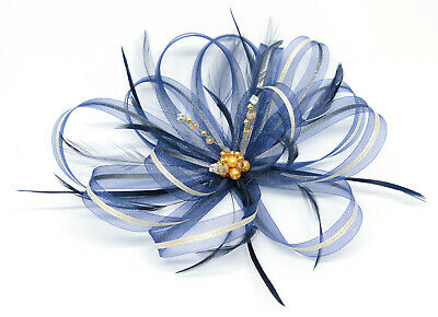 Navy Blue and Gold fascinator with sparkling diamantè on clip, comb & Alice band