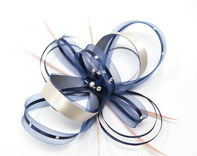 Navy Blue and nude fascinator with diamantè with comb, clip, & alice band