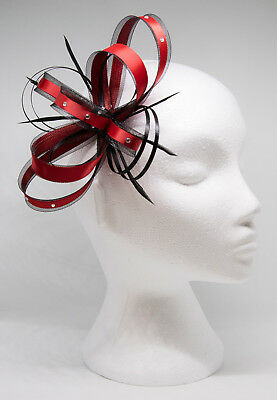 Red and black fascinator with diamante on a clip, comb or Alice