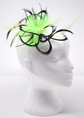 Neon lime green and navy blue fascinator on a clip, comb or Alice band