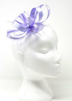 Lavender fascinator with ribbon diamante' & feathers on a clip, comb, Alice band