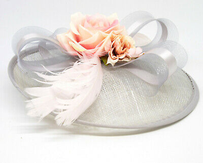 Silver grey and nude pink hatinator style fascinator on clip, comb and Alice