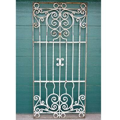 Large Antique Spanish Colonial Painted Wrought Iron Window Grille 19th century