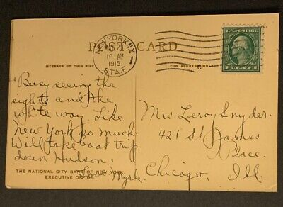 US Post Card 1915 National City Bank Executive Office C5/65 Very Beautiful