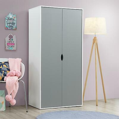 Alton 2 Door Double Wardrobe White & Grey Bedroom Furniture Cupboard