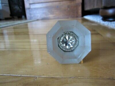 One Ornate Antique JEWELED Frosted Glass Victorian Front Door Knob Art Nouveau