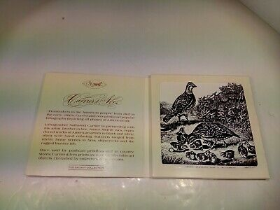 """The Cares Of A Family//Quail Wall Tile or Plaque 6/"""" X 6/"""" Currier /& Ives Used//EUC"""