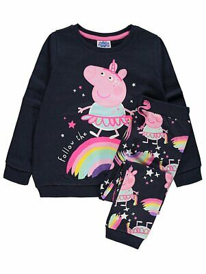 George Girls Official Peppa Pig Sweatshirt and Joggers Outfit Set