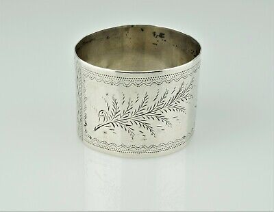Antique Victorian Aesthetic Period Sterling Etched Napkin Ring Holder Mono 'CHO'