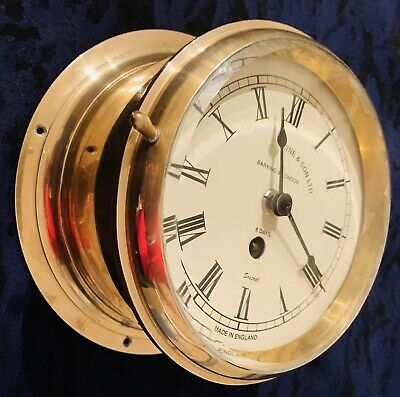 Stunning Henry Browne & Son's Sestrel ships clock c1930 Bulkhead Brass 8 Day Key