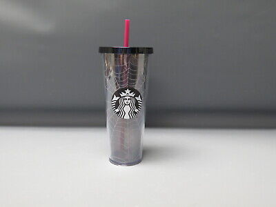 Starbucks Limited Edition 2019 Halloween Silver Glitter Spider Web Tumbler 24oz