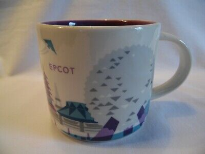 Starbucks You Are Here Disney Epcot Coffee Mug Silver Monorail Purple Interior