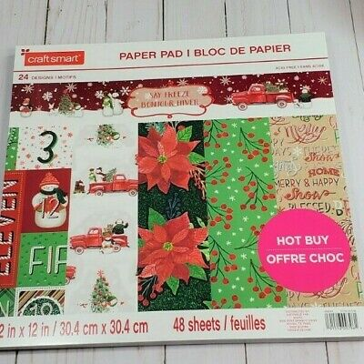 """Say Freeze 12"""" x 12"""" Paper Pad By Crafts Smart Scrapbooking Christmas"""