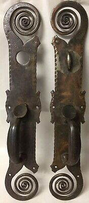 Wonderful Large Antique Pair of Wrought Iron Door Handles Swirls