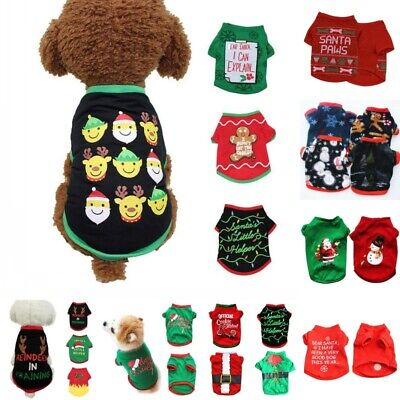 Pet Dog Christmas Clothes Puppy Vest T-shirt Xmas Pajamas Cat Sweater Pullover