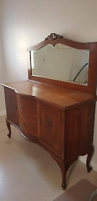 Tuscan Buffet & Sideboardith Decorative Scroll Woodwork & Mirror