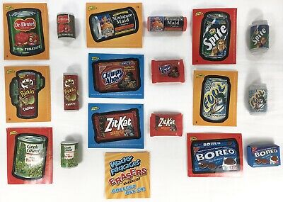 2011 WACKY PACKAGES Erasers Lot 9 w/ Stickers Checklist 1 6 9 11 15 16 19 20 22