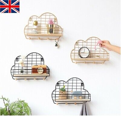 Wall Mounted Shelf Wire Rack Storage Cloud Shaped With Hooks Basket Key Hanger