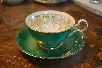 Vintage Royal Grafton Green Gold Lace Tea Cup and Saucer