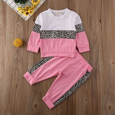 Toddler Kids Baby Girls Clothes Leopard Stitching Top Pants Tracksuit Outfits