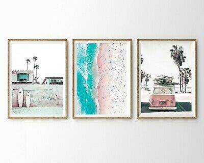 Set of 3 Surfboard Van Coastal Beach & Ocean Wall Art Print. A3 A2 A1 Size
