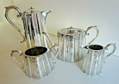 Large Victorian Silver Plated 4 Piece Tea Set, Circa 1880