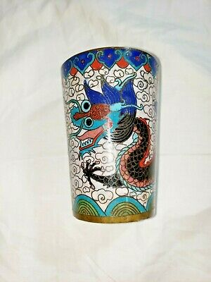 ANTIQUE CHINESE Deep Enamel CLOISONNE CUP  w Dragon H 3 1/4""