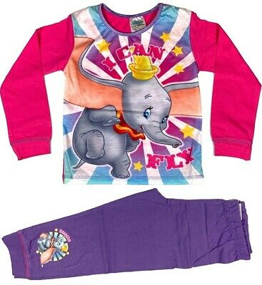 Official Girls Toddler Disney Dumbo Pyjamas Pajamas Nightwear 2 3 4 5